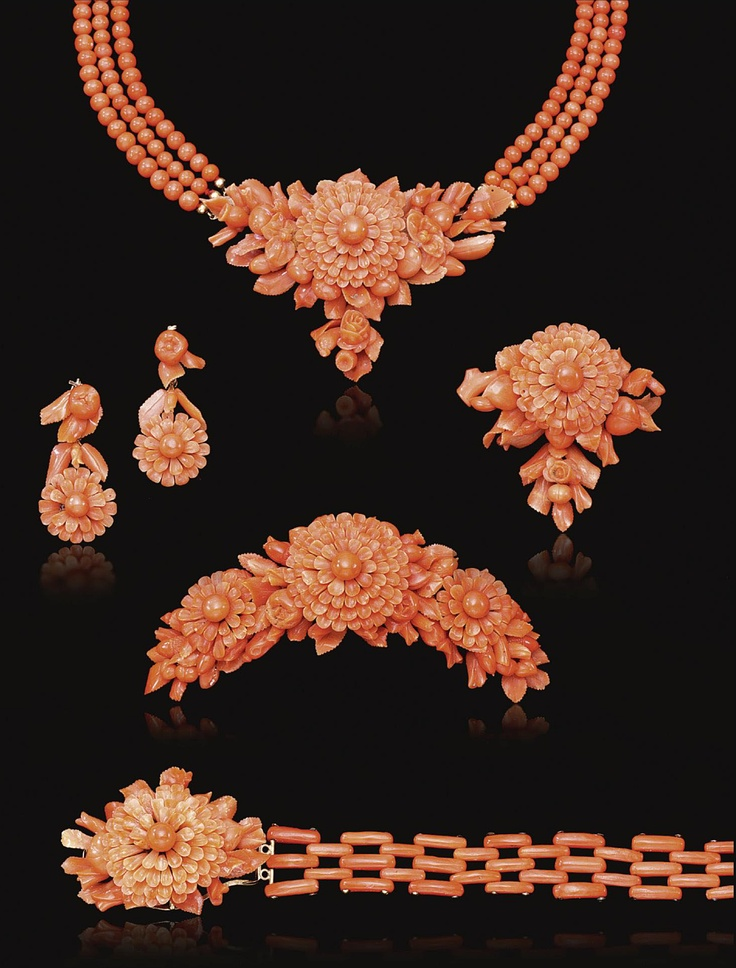 Vintage coral jewelry by estate beads victorian jewelry set victorian jewelry carved mozeypictures Image collections